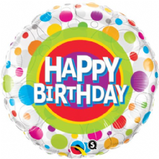Happy Birthday Colourful Dots Foil Helium Balloon